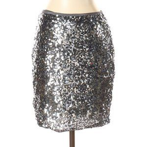 White House Black Market Silver Sequin Skirt